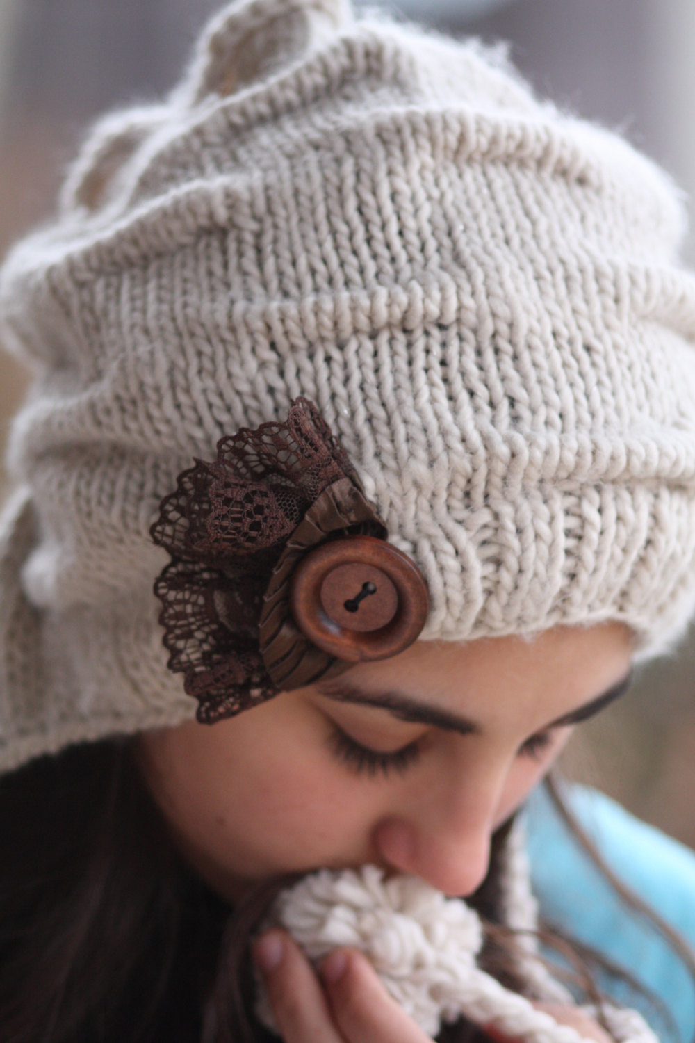 Knitted Hat- Brown Lace, Light Beige , Infinity Scarf ...